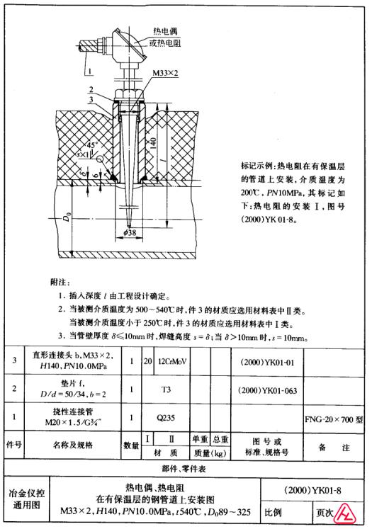 囹f�ZJ~yK^[�_yk01-8 热电偶,热电阻在有保温层的钢管道上安装图t540℃