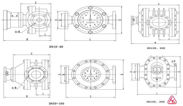 椭圆齿轮流量计外形尺寸图